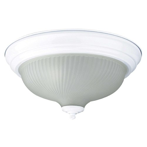 Sunset Lighting F7513-30 Flush Mount with Frosted Prismatic Glass, White Finish 30 White Prismatic Glass