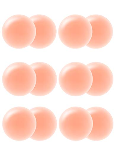 (Nipplecovers Silicone Reusable Pasties for Women Skin Breast Petals Adhesive Nipple Cover(Round-6))