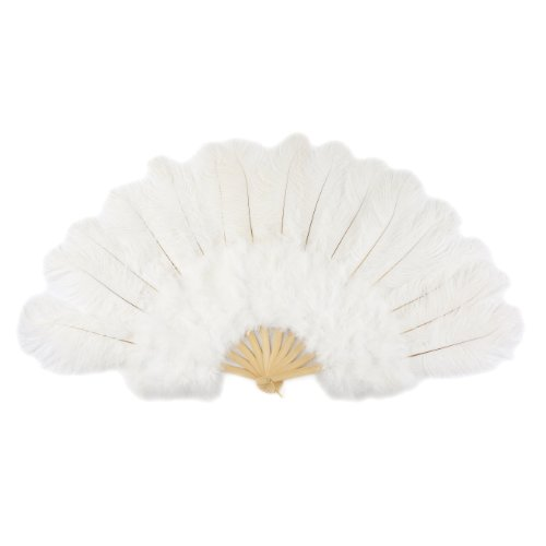 Large Ostrich Feather Hand Fan - White Flapper Folding Fan Dance Wedding Accessory