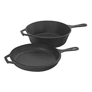 Lodge Pre-Seasoned Cast Iron Combo Cooker, 2-Piece Set, 10.25″, Black