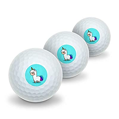 GRAPHICS & MORE Cute Kawaii Rainbow Llama Unicorn Novelty Golf Balls 3 Pack