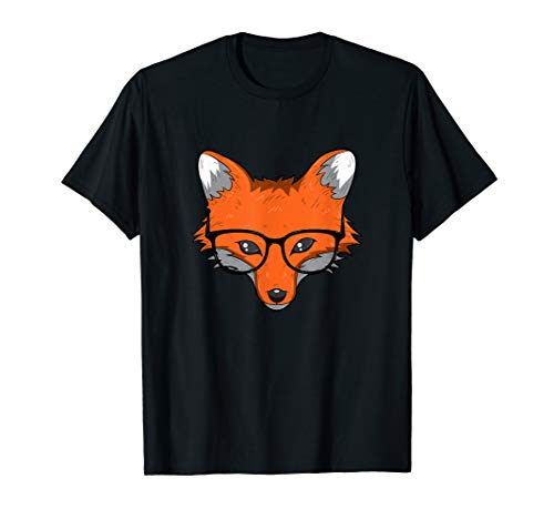 Smart Fox T Shirt Clever Animal Foxes Glasses Gift Women Men -