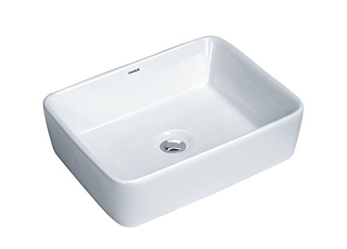 Surface Mount Sink - CHANGIE 6030W Top Mount Vanity Bathroom Ceramic Vessel Basin,White,19x15 inches