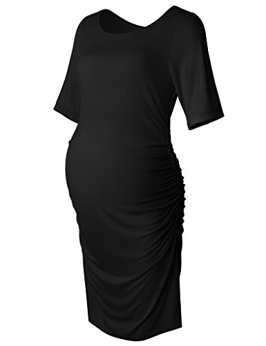 Women's Bodycon Maternity Dress Casual Short Sleeve Ruched Sides Knee Length Pregnant Dresses Black S
