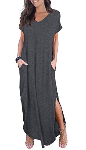 (GRECERELLE Solid V-Neck Pocket Loose Maxi Dress Dark Gray L)