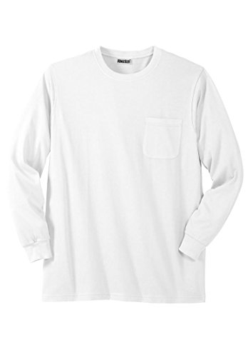 Airborne Long Sleeve T-shirt (Kingsize Men's Big & Tall Lightweight Long-Sleeve Tee Shirt With Pocket, White)