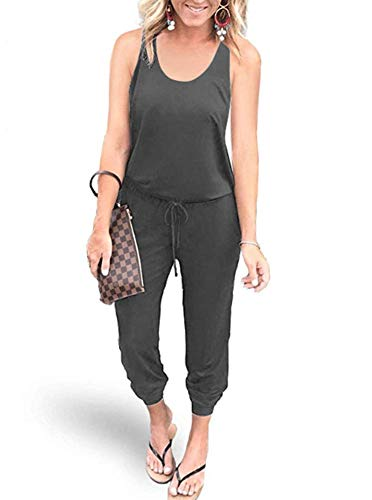 REORIA Women Summer Casual Sleeveless Tank Top Elastic Waist Loose Jumpsuit Rompers with Pockets Dark Grey Large