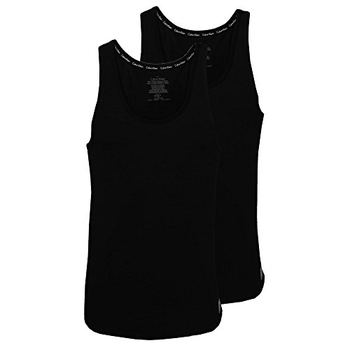 Calvin Klein ID 2-Pack Men's Tank Top Vests, Black Medium ()