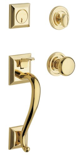 (Baldwin 85320.003.ENTR Madison Sectional Trim Handleset with Classic Knob, Lifetime Polished Brass)