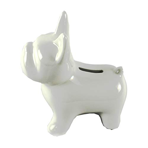 - Belle Amour Ceramic Bulldog Loose Change Piggy Bank (White)