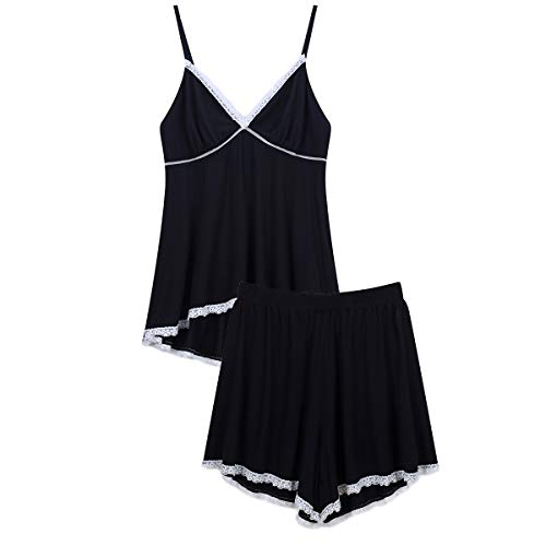 Espoir Women's Pajama Set Deep V Neck Lace Trim Cami Tops and Shorts Sleepwear (Black, X-Small)