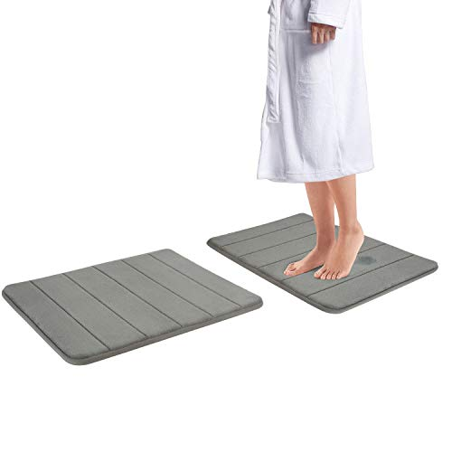Drhob 2Pcs Gray 17x 24 Non Slip Coral Velvet Bathmat Absorbent Bath Rugs Memory Foam Bath Mats with Anti-Skid Bottom
