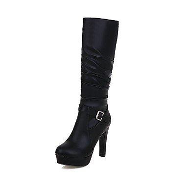 Stiefel Heel Stiefel Schuhe Schnalle Reißverschluss Runder Stiletto Fashion Damen Winter Rüschen Wuyulunbi Party Für wIfFqF