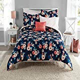 8 Piece Navy Blue Pink Garden Flowers Theme Comforter Full Set, Elegant All Over Boho Chic Bohemian Floral Print, Stylish Stripes Design Reversible Bedding, Bright Colors Blush Coral, For Girls/Teens