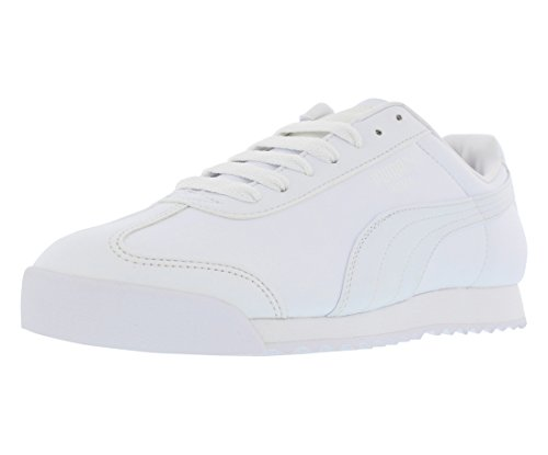 (PUMA Men's Roma Basic Sneaker White/Light Grey 10.5 M)