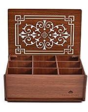 RoyalHouse Premium Wood (MDF) Tea Box Storage Organizer (Brown), 8 Compartments
