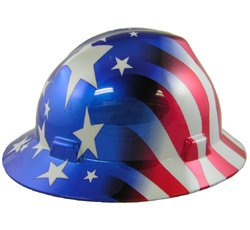 MSA FULL BRIM Patriotic Hard Hat with American Stars and Stripes Hard hats - One Touch Suspension