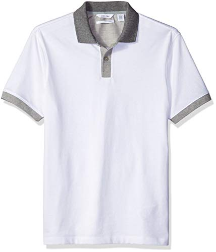 Calvin Klein Men's Liquid Touch Polo Shirt, Stained White, Small