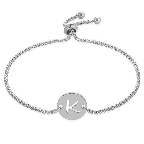 (FM FM42 Stainless Steel Alphabet Initial Round Disc Charm Adjustable Rolo Chain Bracelet (Letter K, Silver-Tone) ZB1130-S)