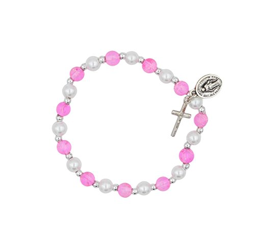 6mm Pink and White Bead Stretch Bracelet with Crucifix and Miraculous Medal Charms