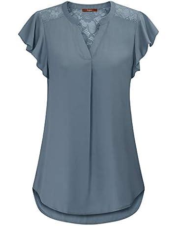 d2c3022b8 Gaharu Women's Notch V Neck Short Sleeve Chiffon Shirts Casual Lace Blouse  Top