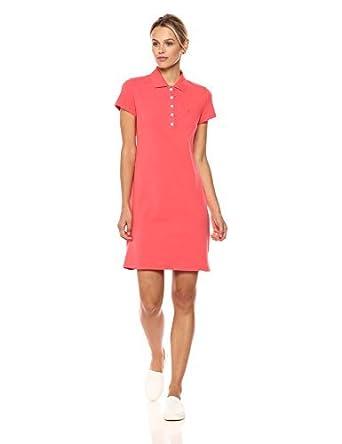 Nautica Womens Short Sleeve Stretch Polo Dress, Bright Coral, X ...