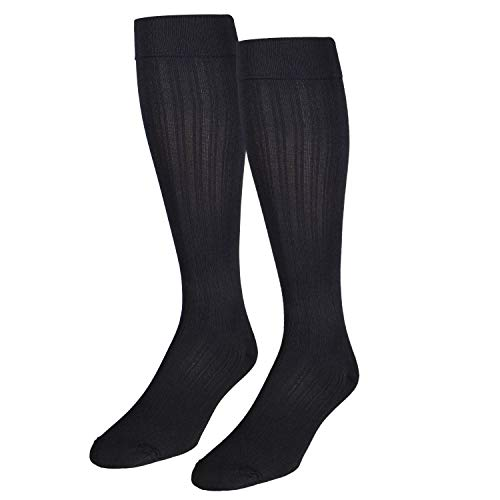 NuVein Women's Compression Socks Dress Trouser Style Over Calf Knee High, Black, X-Large ()