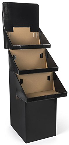 3-Tier Point-of-Purchase Display Bin for Floor, Free-Standing, Black Corrugated Cardboard, Easy Setup - Sold in Sets of 3