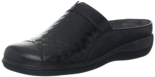 Women's Kid Leather San SoftWalk Black Woven Mule Marcos Burnished Veg 7Hxqwd8