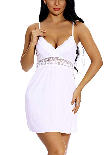 KANILU Sexy Sleepwear for Women lace nightgowwn Sheer Nightwear White