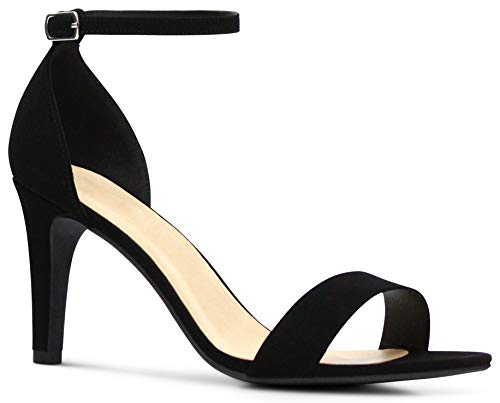 Wide-Fit Women's Open Toe Ankle Strap Low Platform High Heels Sandals - (Black Nubuck) - 7