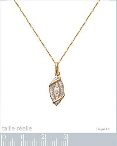 Juego de colgante para mujer bañado en oro de 18 quilates y óxido de circonio + cadena de 50 cm chapada en oro  FEBt0D