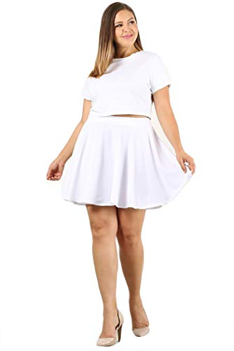 UU Fashion Womens Plus Size Basic Versatile Stretchy Flared Skater Skirt (1X, WB1034_White)