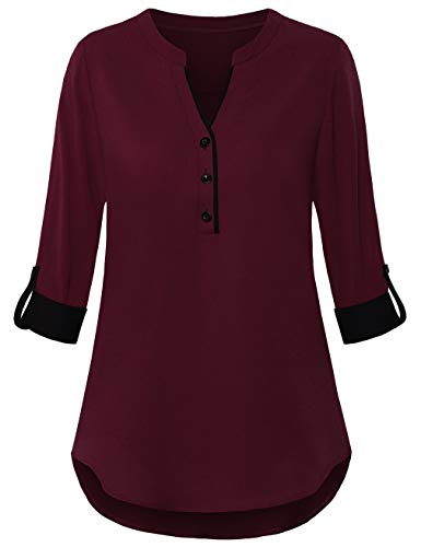 FANSIC Women V Neck 3/4 Roll Sleeve High Low Hem Top Button Down Chiffon Blouse Wine Red S ()