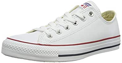 Converse, Chuck Taylor All Star Low Top, Leather Sneakers, 6 M US Women / 4 M US Men White