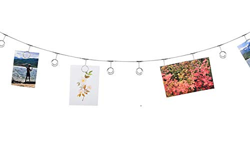 Hanging Photo Clip Wall Display. Twelve clips to attach pictures, kid's artwork, Christmas cards, holiday decorations, home decor. String pictures. Durable curtain wire with 2 screw-in hooks included (Display Clips Photo)