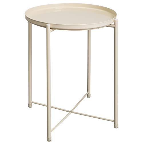 HollyHOME Tray Metal End Table, Sofa Table Small Round Side Tables, Anti-Rust and Waterproof Outdoor Indoor Snack Table, Accent Coffee Table, H 20.28 x D 16.38 , Cream-Colour