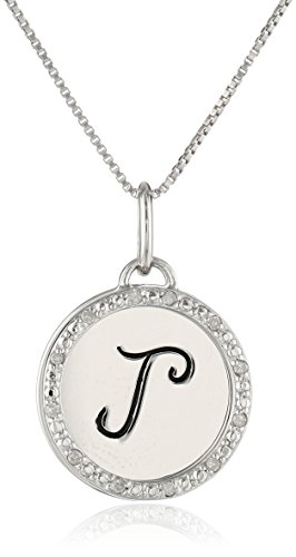 Diamond Initial Pendant Necklace (Sterling Silver Diamond Accent Two Piece