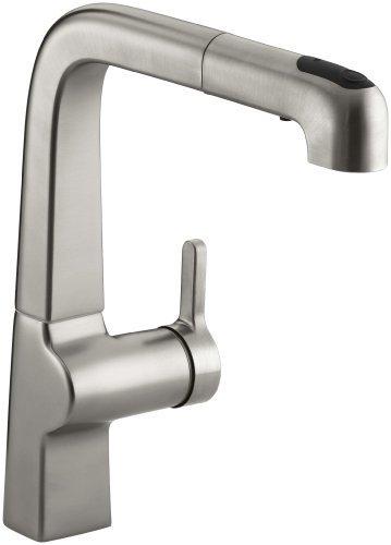 Kohler K 6331 Vs Evoke Single Control Pullout Kitchen Faucet  Vibrant Stainless