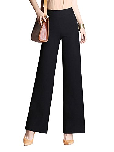 Gooket Women's High Waist Wide Flare Leg Pants Casual Loose Long Pants Black Tag 31-US (Wide Leg Gabardine Pant)