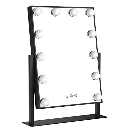 Ovonni Lighted Vanity Makeup Hollywood Mirror, Dimmable Tabletop 3 Colors lighting Cosmetic -
