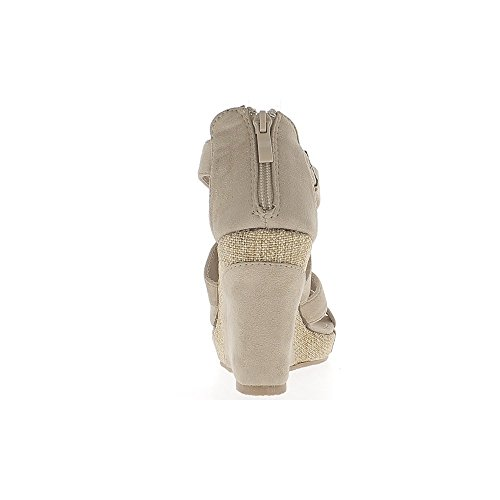 Sandalias beige con tacón 10cm look del ante con bridas que se enclavija