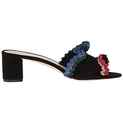 Loeffler Randall Women's Vera Ruffle Slide Sandal (Woven Cotton) Heeled: Shoes