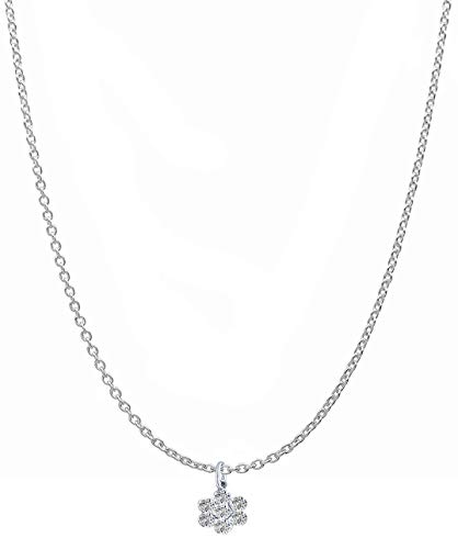 (925 Sterling Silver Italian Diamond Cut Rolo Chain with Swarovski CZ Daisy Pendant Sturdy Necklace Strong -Spring Ring Clasp with Gift Box)