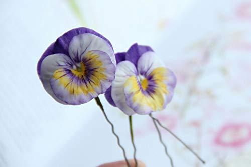 (pansy hair pin, handmade pansy, flower hair pin, hair pin, purple hair pin, pansy hair accessory, flower hair accessory, cold porcelain, rustic jewelry)