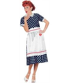 Fun World Women's Licensed I loveLucy Polka Dot Dress, Blue, Size M 8-10 for $<!--$15.05-->