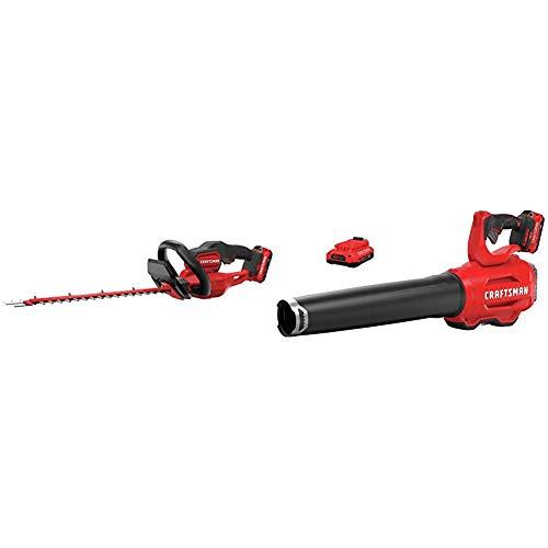 CRAFTSMAN CMCHTS820D1 V20 22 Cordless Hedge Trimmer with CMCBL720D2 V20 Handheld Blower