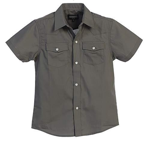 Gioberti Boys Solid Short Sleeve Western Shirt, Gray Size 14