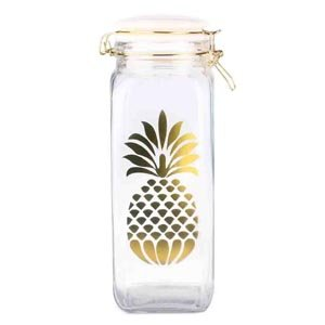 (Home Basics Pineapple Sunshine Food Storage Glass Canister Jar (Large) )