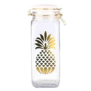 Home Basics Pineapple Sunshine Food Storage Glass Canister Jar - Pineapple Canister Kitchen